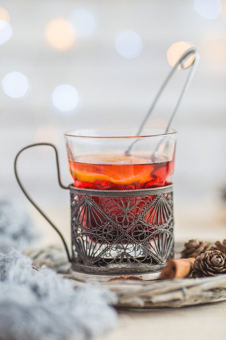 Hot tea with Christmas spices