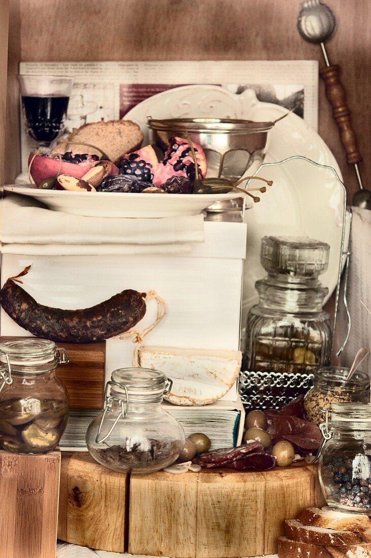 Various foodstuffs in a vintage atmosphere
