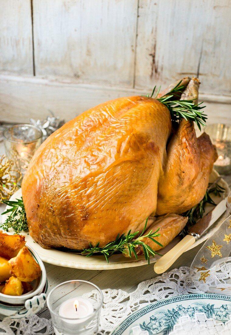 Roast turkey with rosemary for Christmas dinner