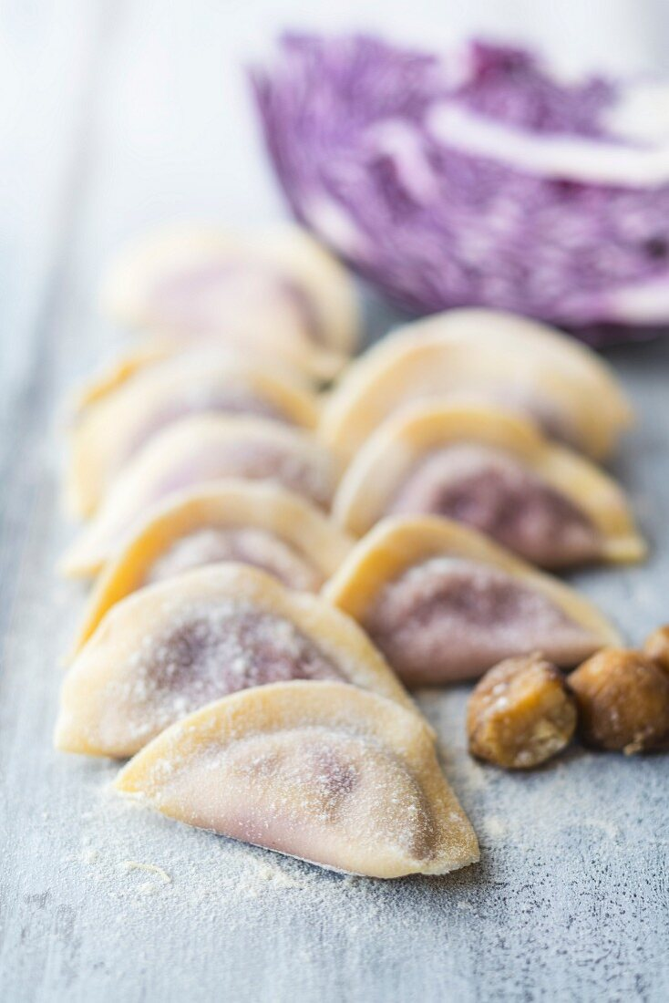 Homemade ravioli with red cabbage and chestnuts