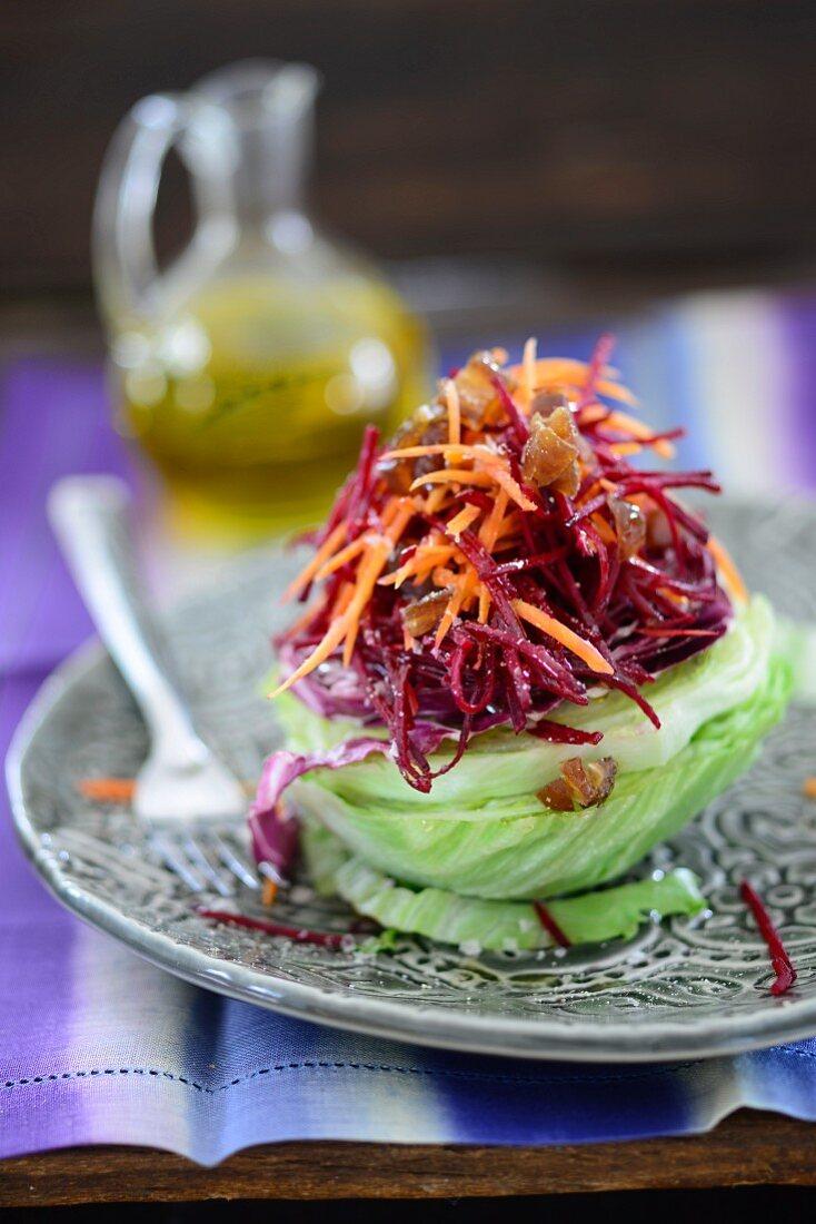 Radicchio and date salad on iceberg lettuce