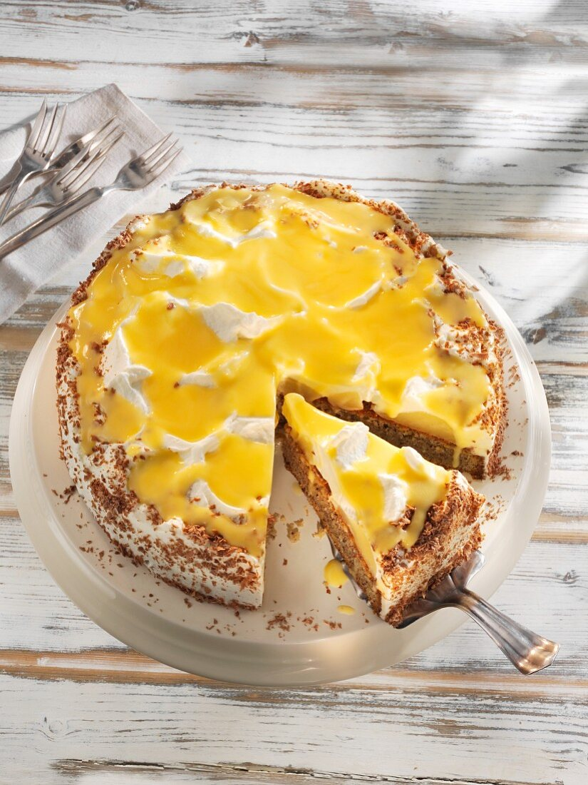 Pear tart with egg liqueur
