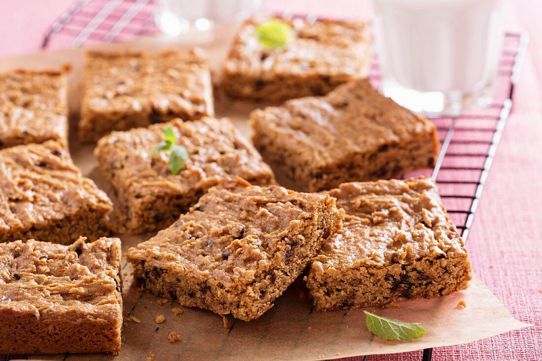Vegan almond butter blondies with chocolate chips