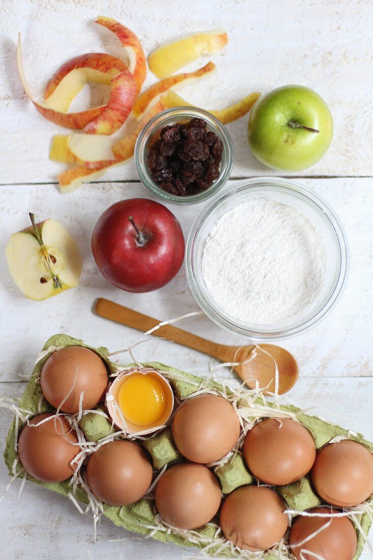 Ingredients for apple cake