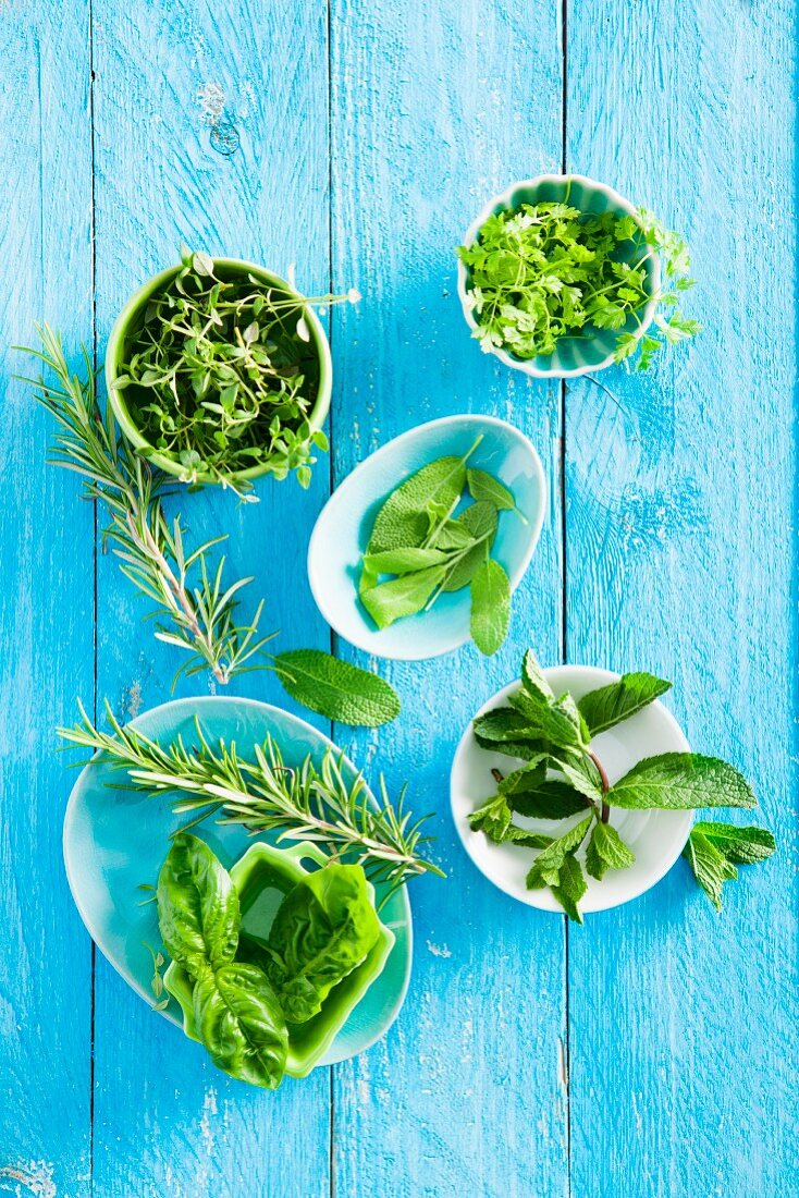 Fresh rosemary, basil, thyme and sage in bowls
