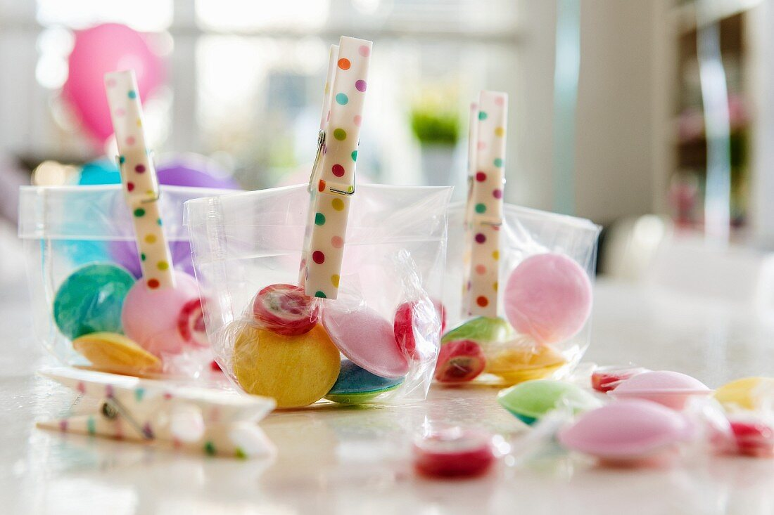 Sweets in cellophane party bags