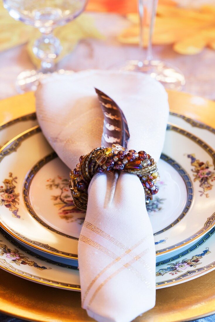 A festive place setting for Thanksgiving