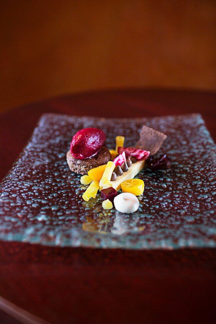 Chilli and chocolate cake with kumquats in the restaurant Villa Merton, Frankfurt am Main, Germany