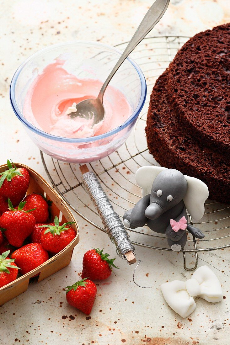 Ingredients for strawberry cream cake