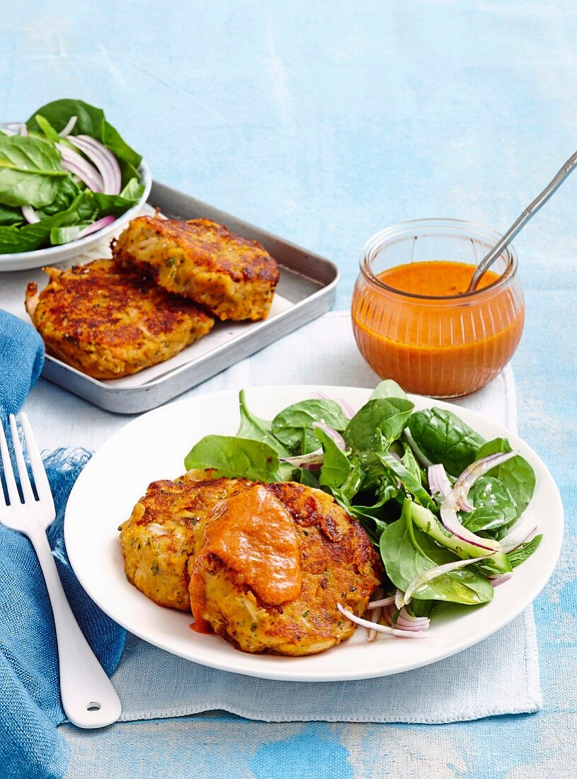 Red curry chicken fritters