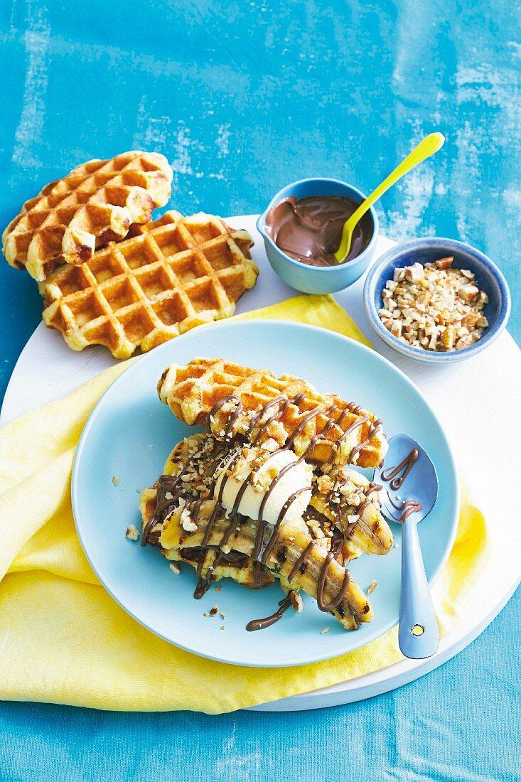 Grilled banana waffle sandwiches