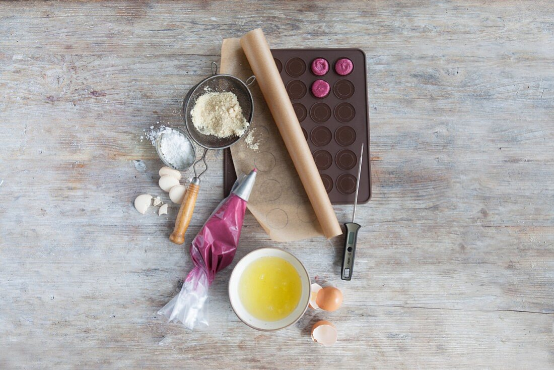Ingredients and baking utensils for macaroons