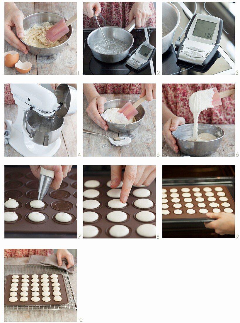 Vanilla macaroons being made