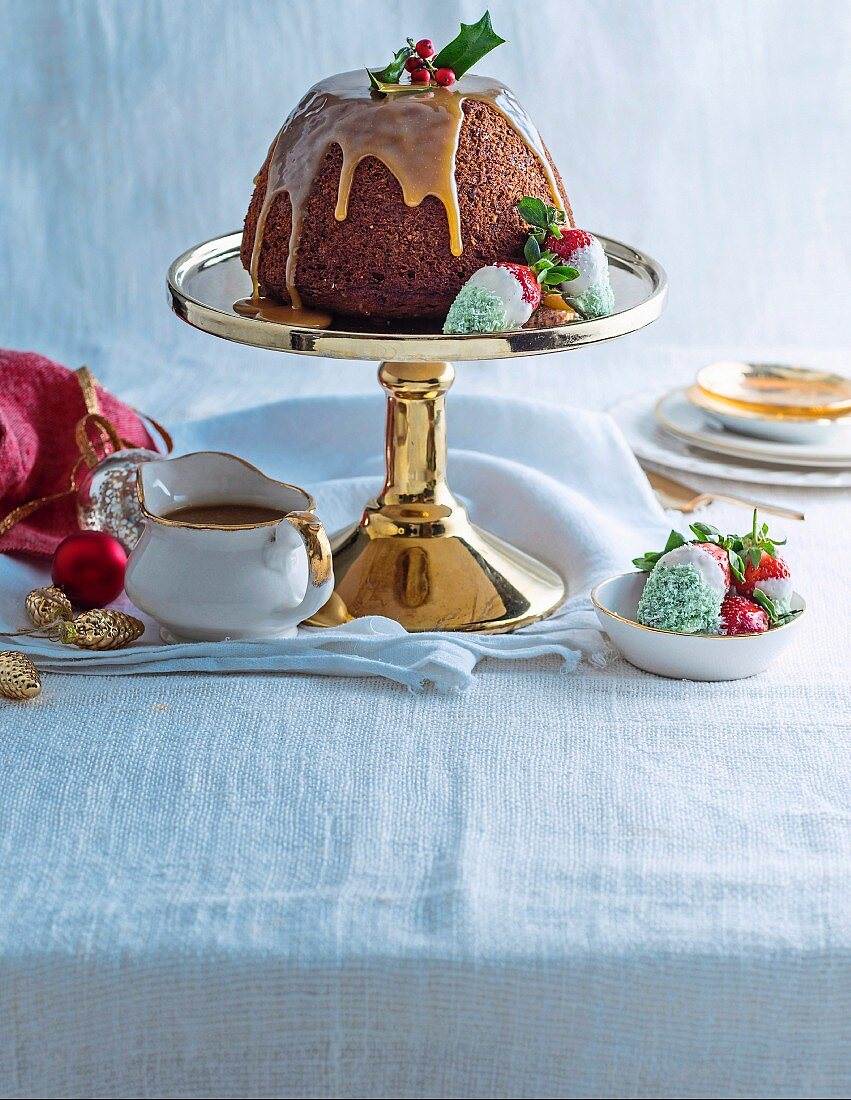 Sticky Date Pudding with Christmas Strawberries