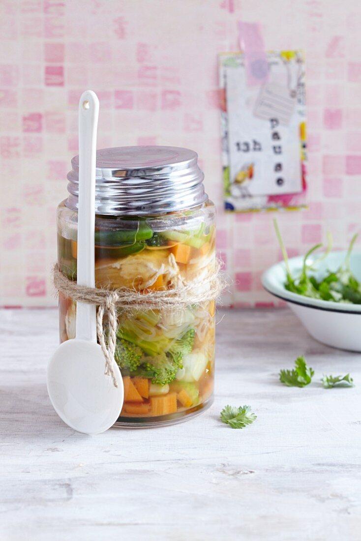 Oriental soup in a jar