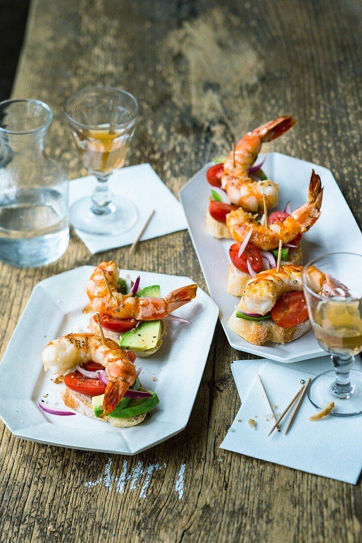 Basque pintxos with prawns