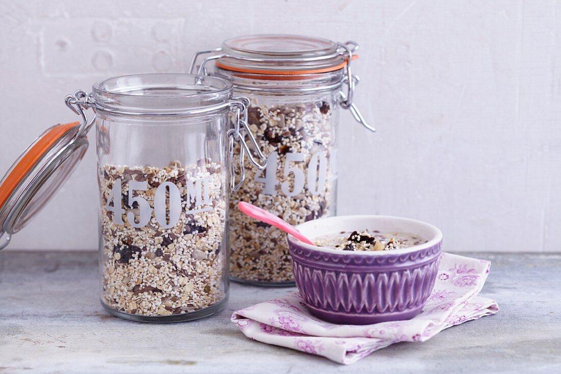 Jars of fruity muesli