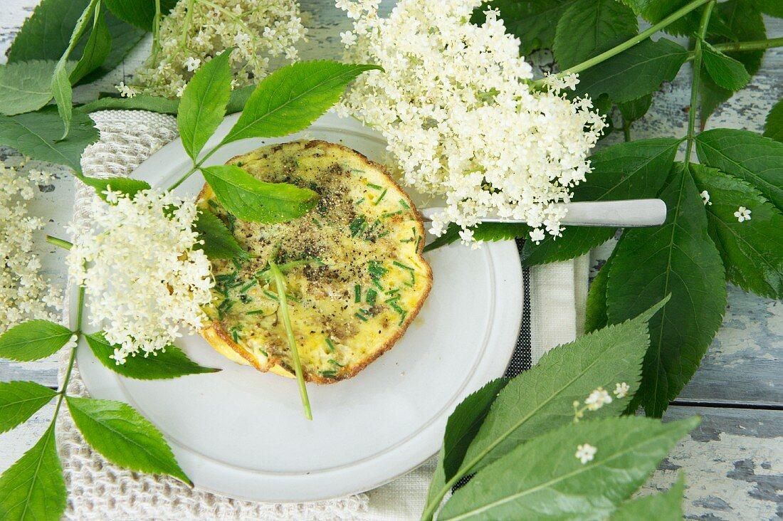 An elderflower omelette with herbs