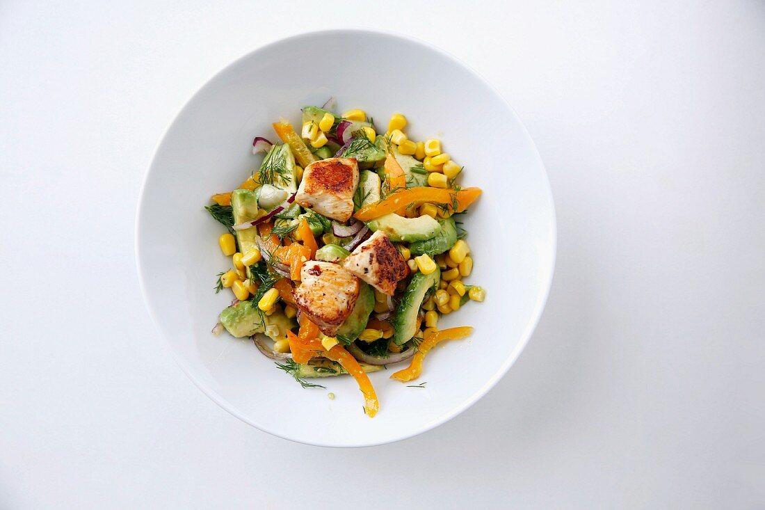 Avocado salad with chicken and amchur