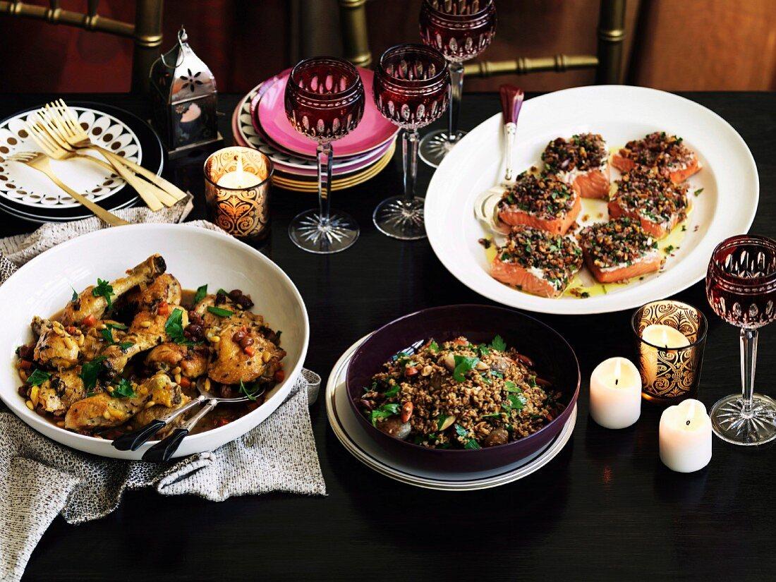 Chicken agrodolce, Melting salmon in fragant salt tarator style -& Freekah with pomegranate dressing