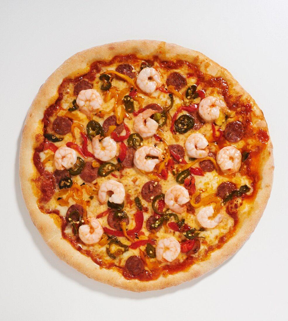 Cajun pizza with prawns, sausage and okra