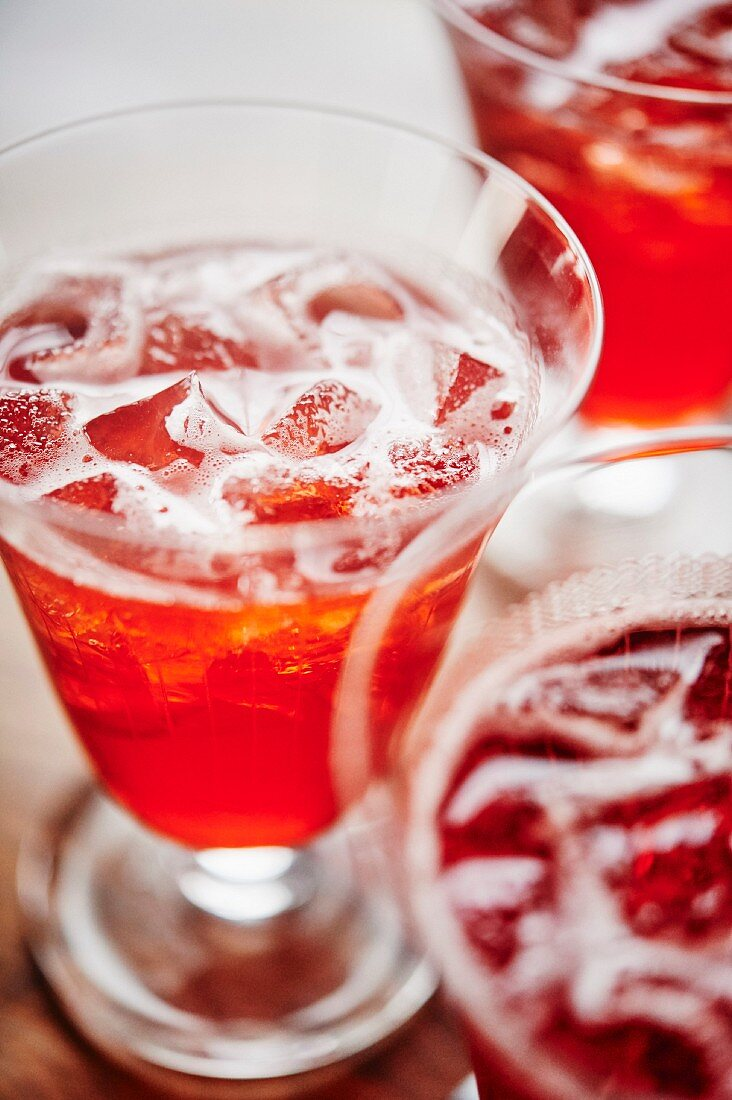 Campari cocktail with ice cubes