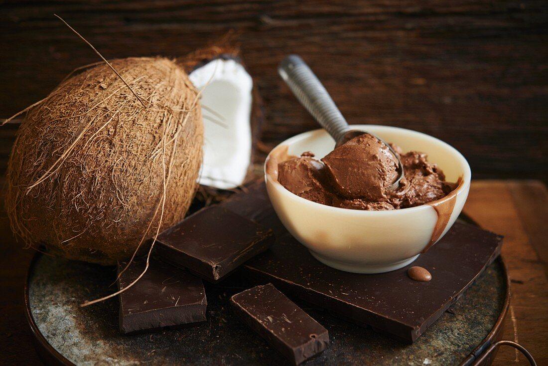 Chocolate fudge ice cream with coconut