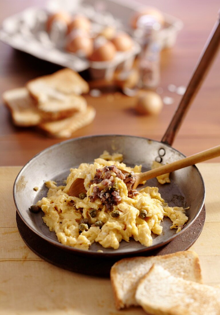 Scotch Woodcock (scrambled egg with anchovies and capers, Scotland)