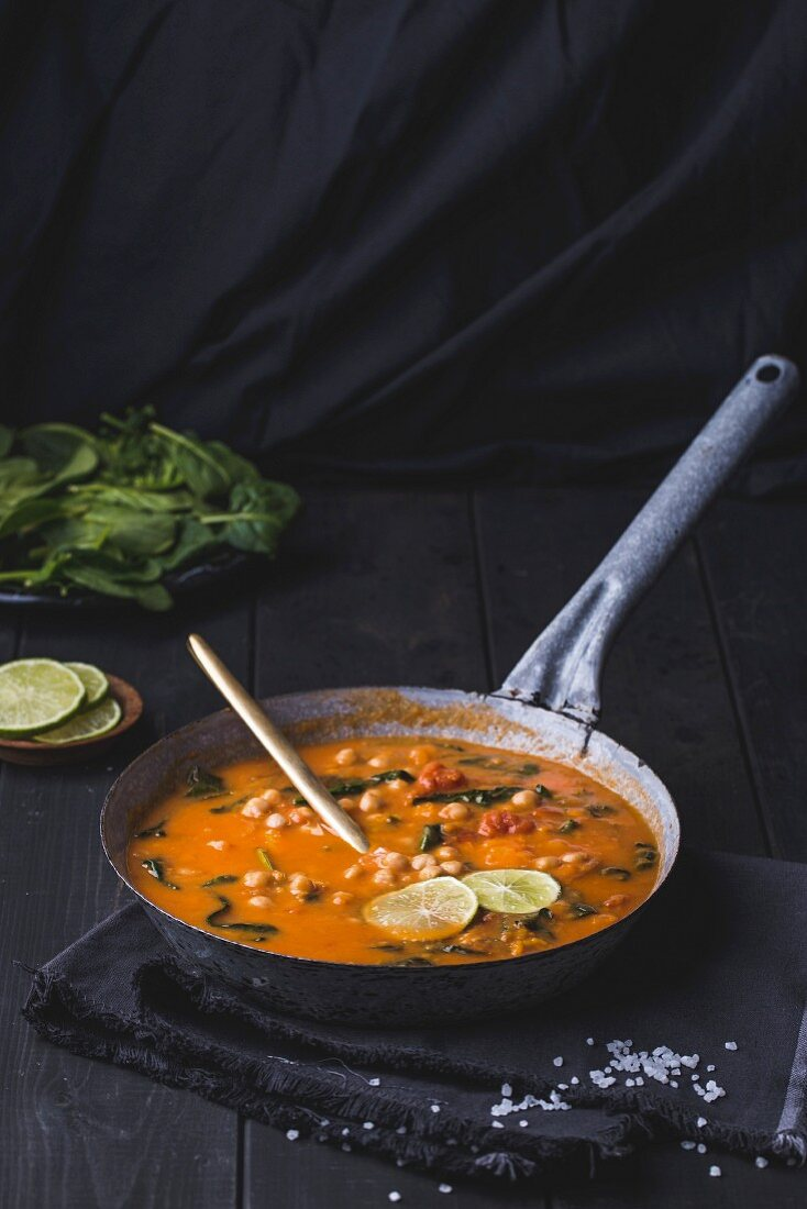 Chick pea and sweet potato curry with spinach