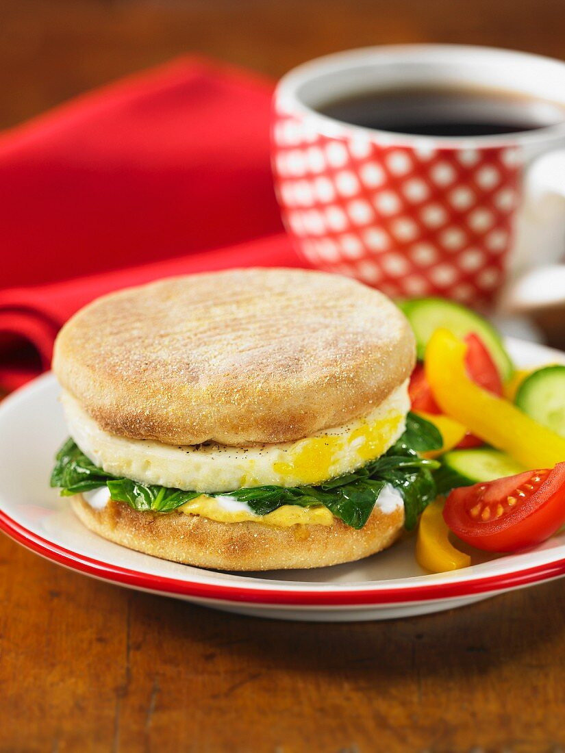 Poached Egg and Spinach muffin