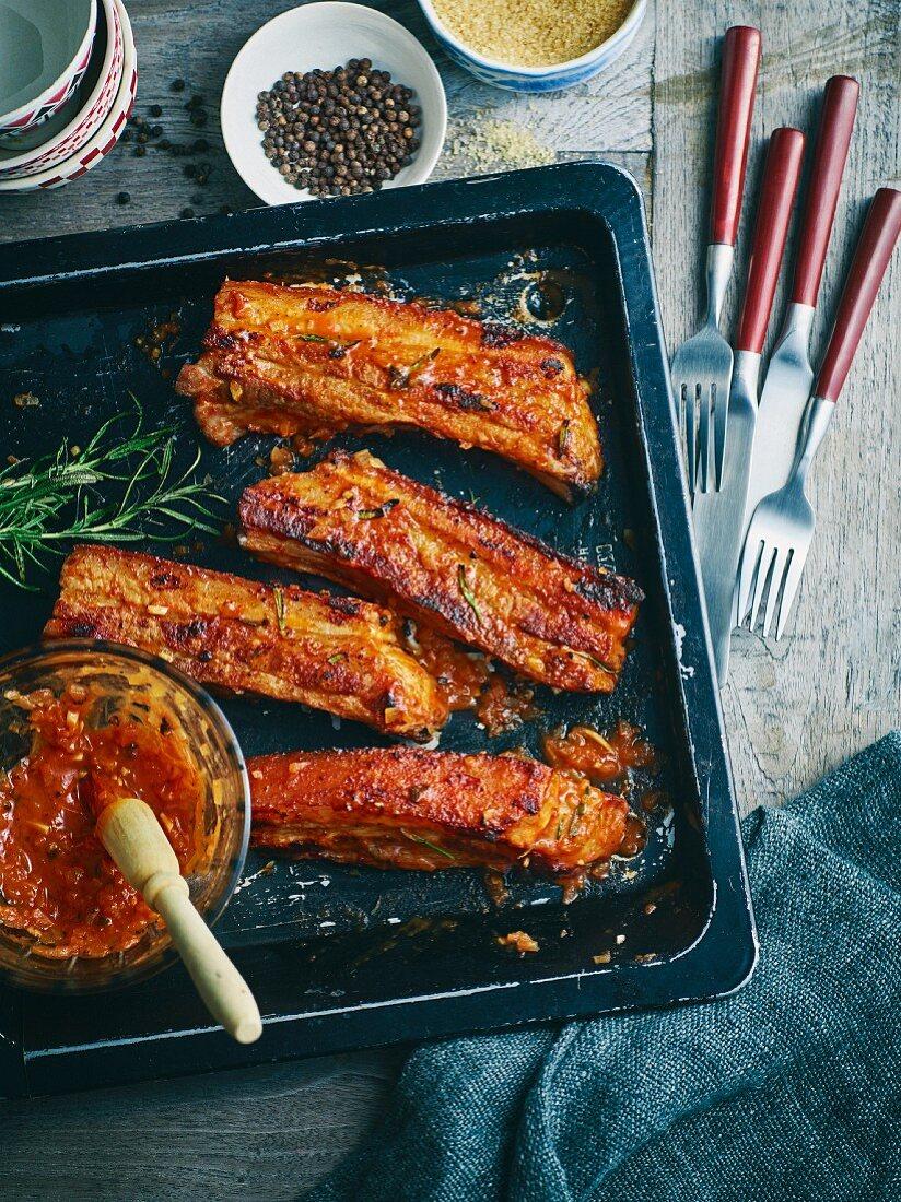 Grilled Baden mustard ribs