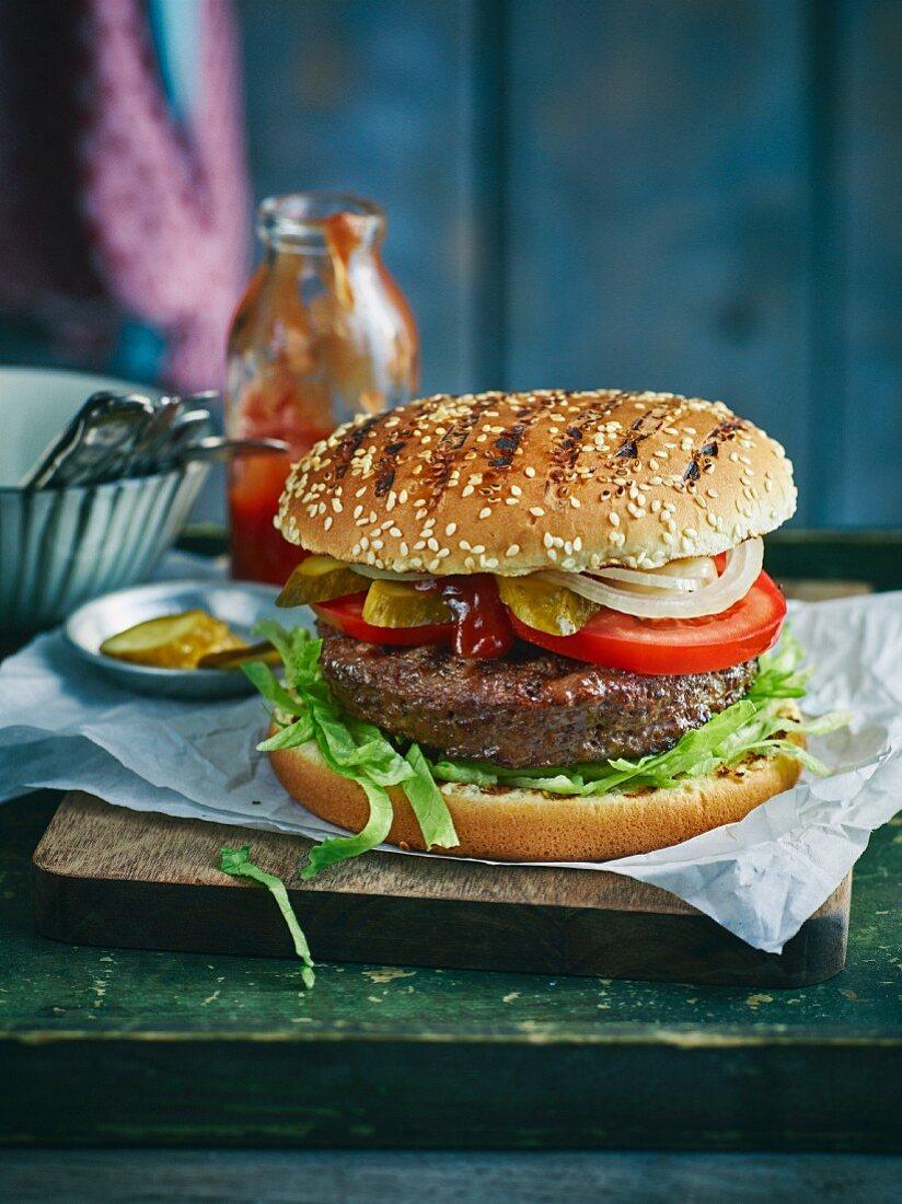 A grilled hamburger