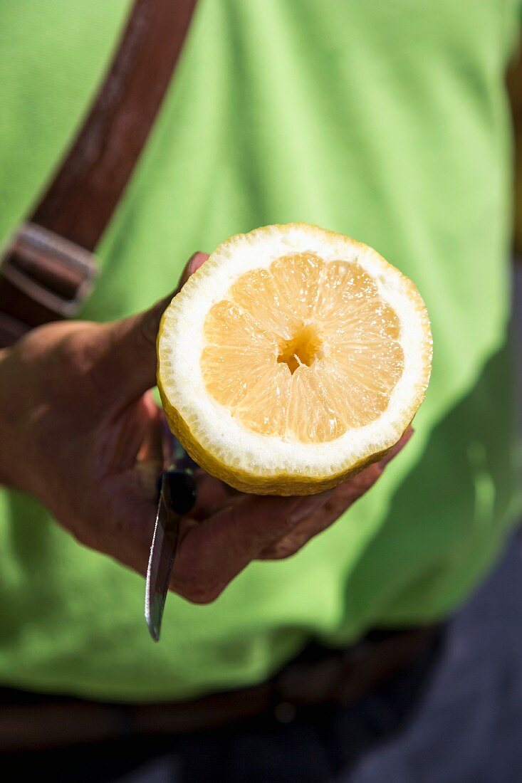 A man holding a freshly sliced lemon half