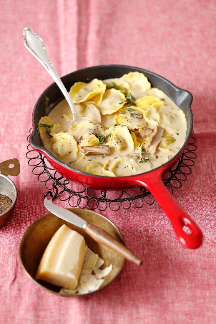 Ravioli in a mushroom sauce