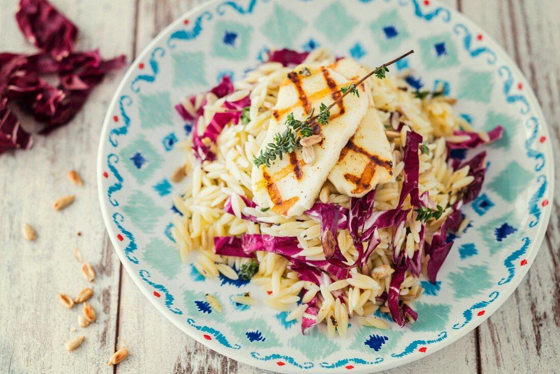 Pasta salad with halloumi cheese
