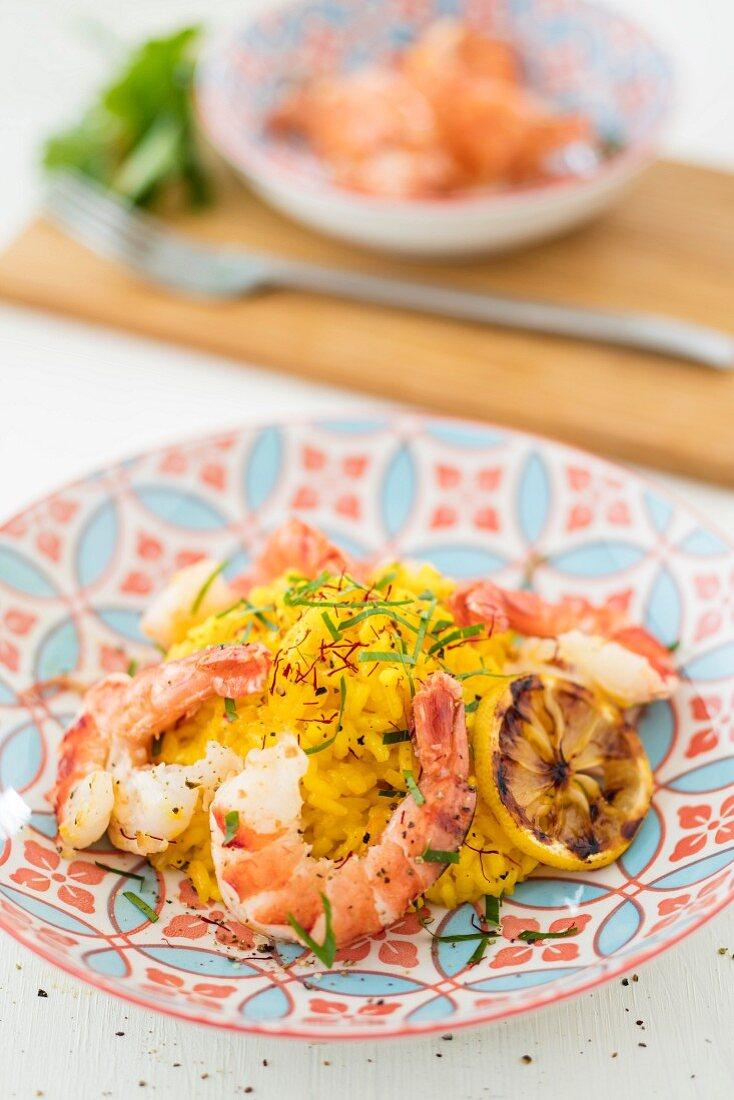 Saffron risotto with prawns