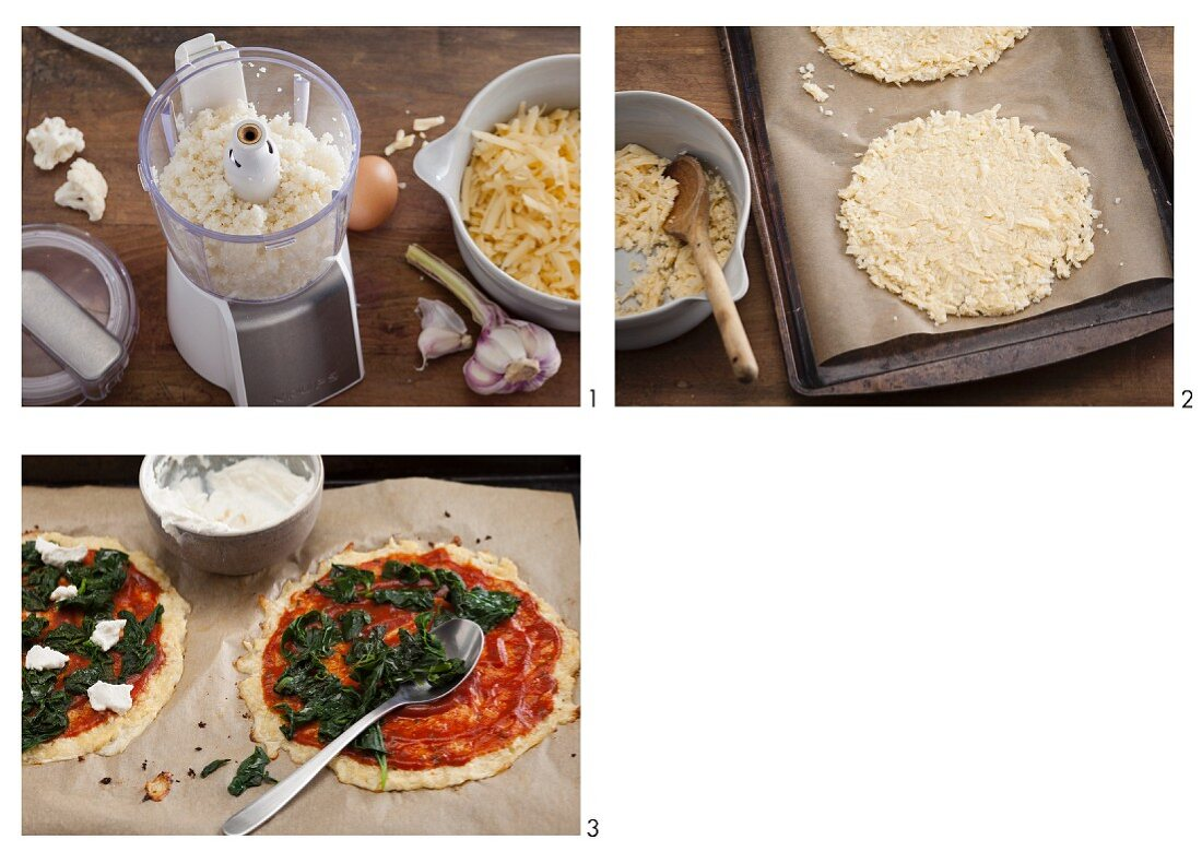 Vegetarian cauliflower pizza with spinach and rocket being made