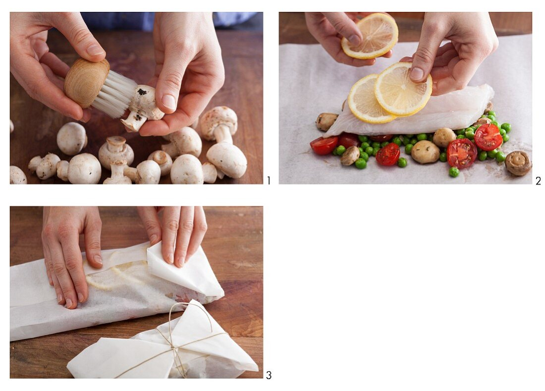 Cod fillet with vegetables being made in parchment paper