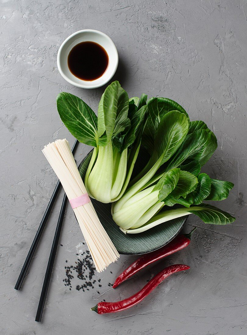 Ingredients for Oriental noodle soup