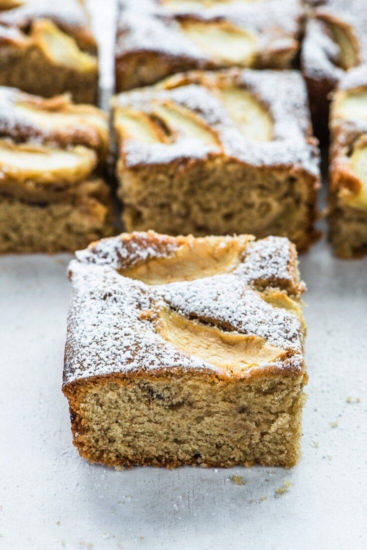 Apple and nut tray bake cake