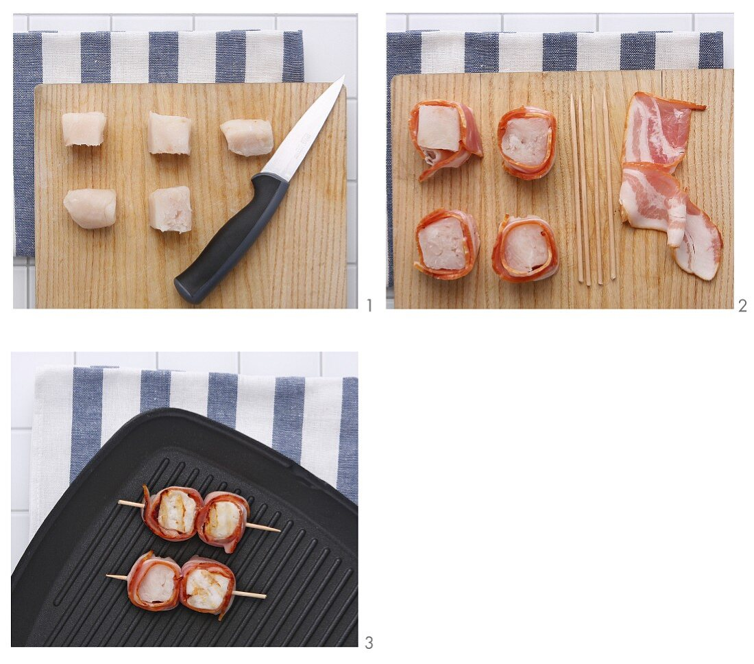 Grilled fish canapés wrapped in bacon being made