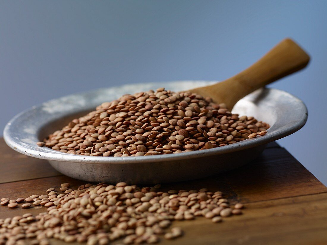 Brown lentils on a metal plate on a wooden table