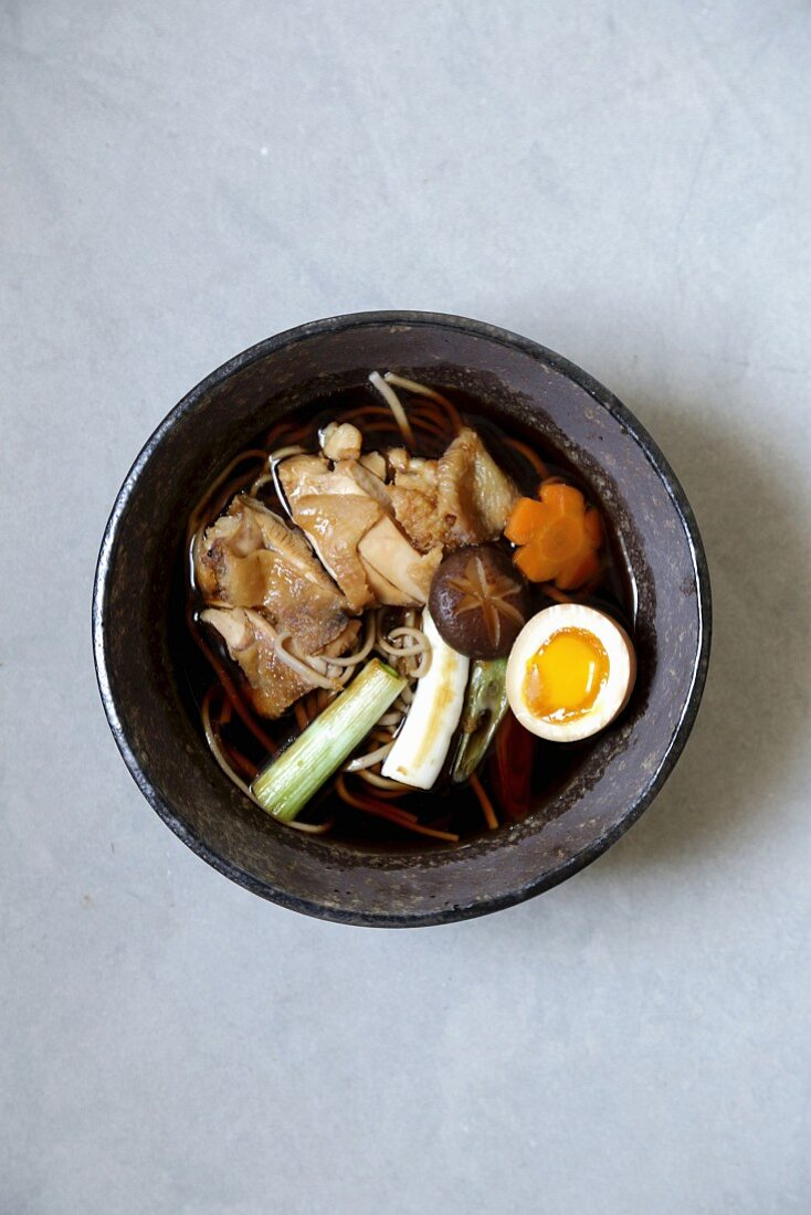 Soba noodle soup with chicken, a soft-boiled egg and spring onions (Japan)