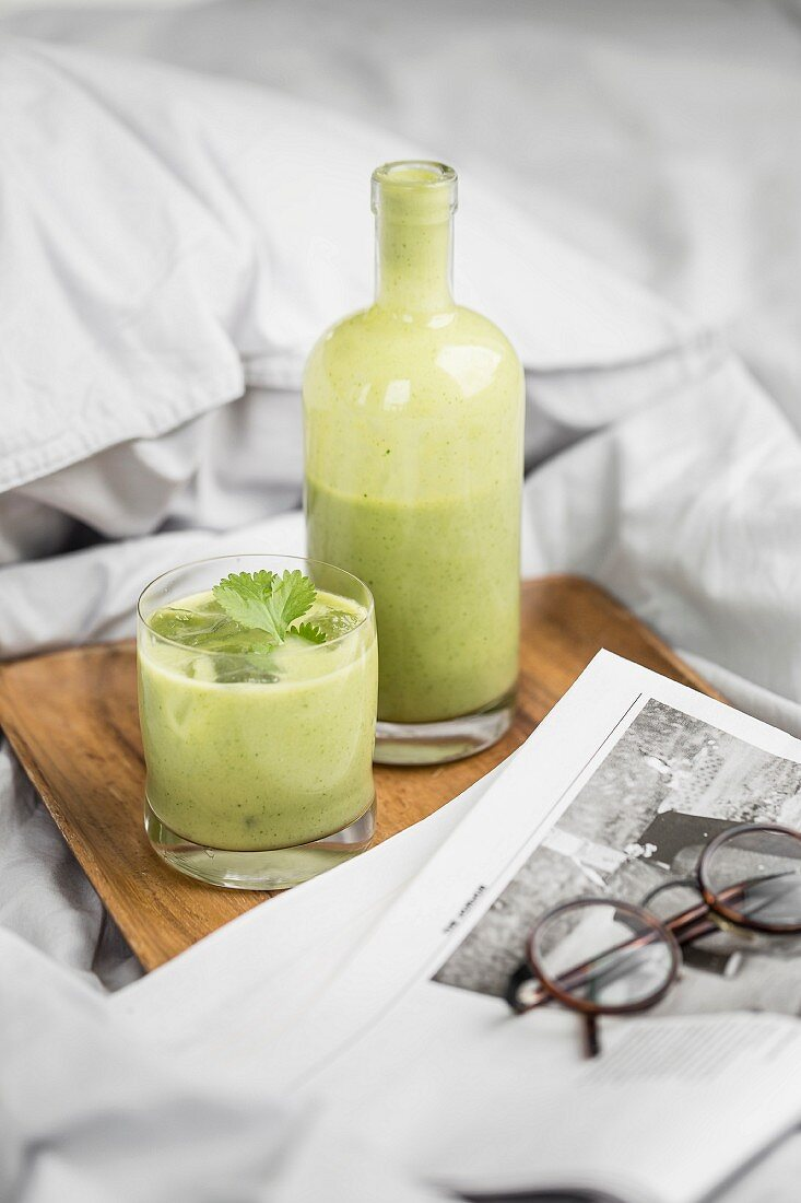 A green breakfast smoothie
