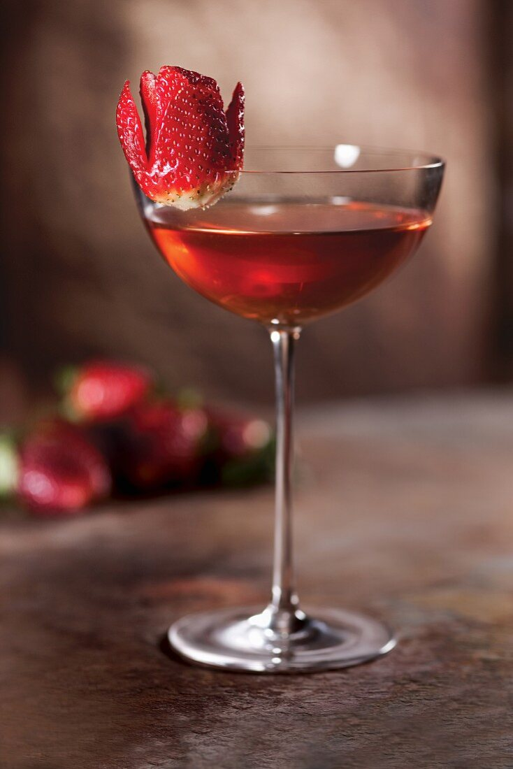 A strawberry Bourbon cocktail