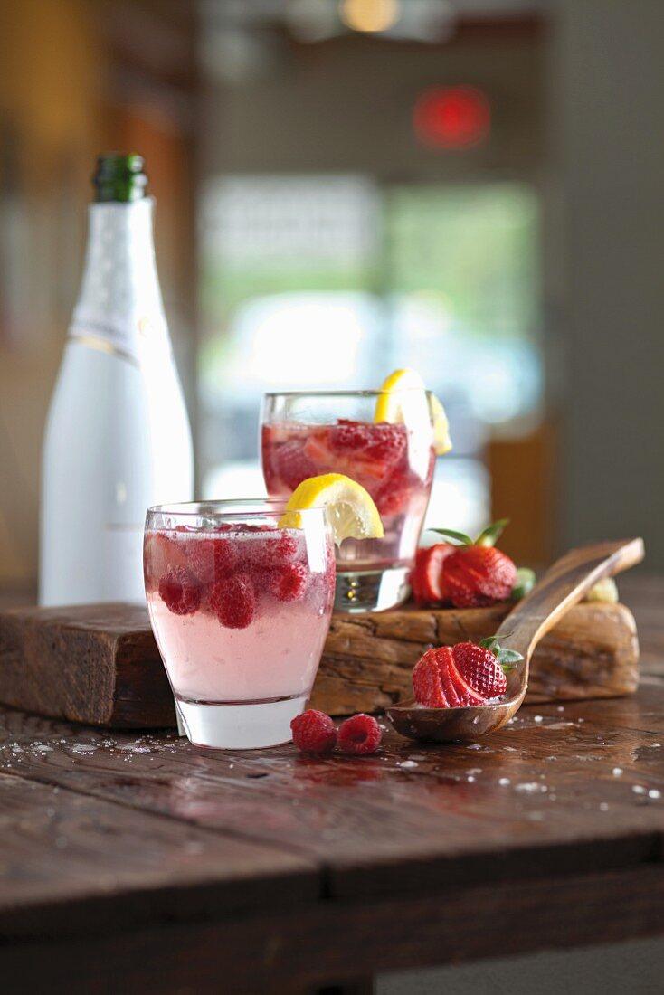 Raspberry sangria with limoncello
