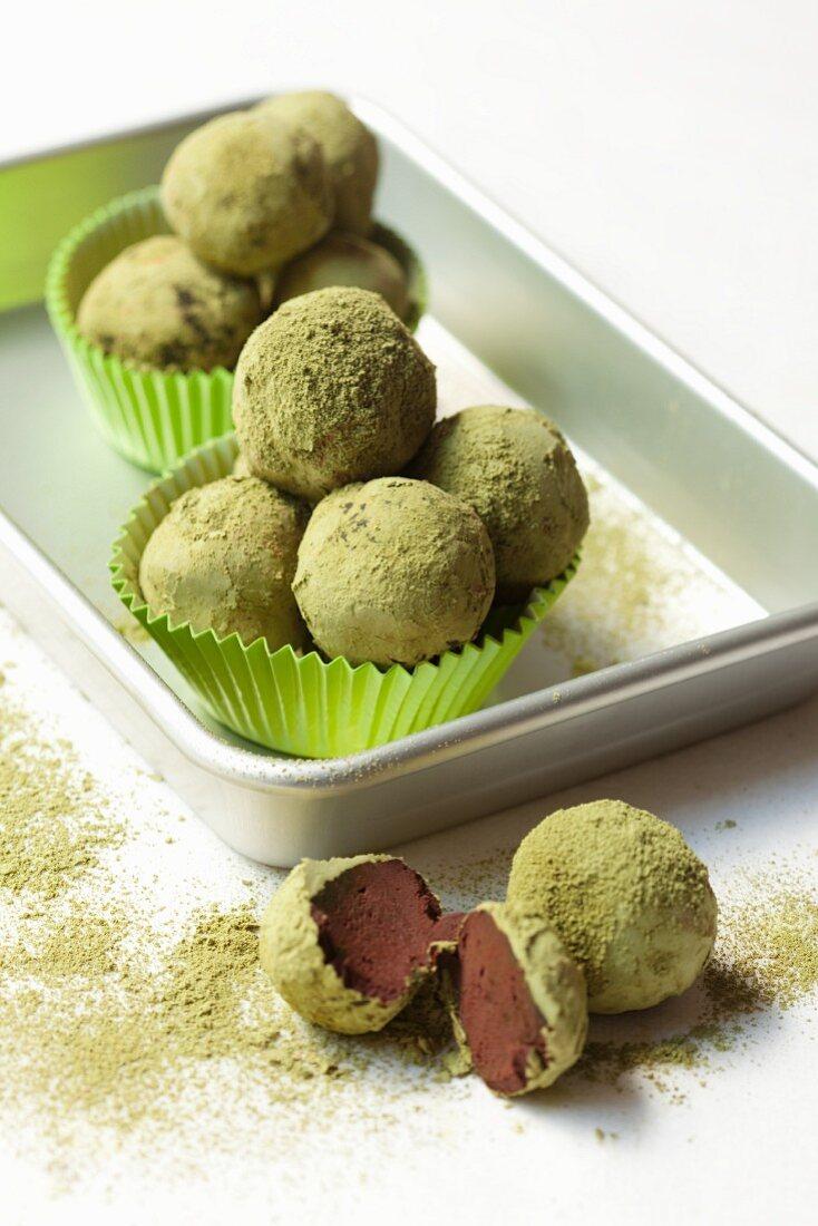 Chocolate matcha truffles