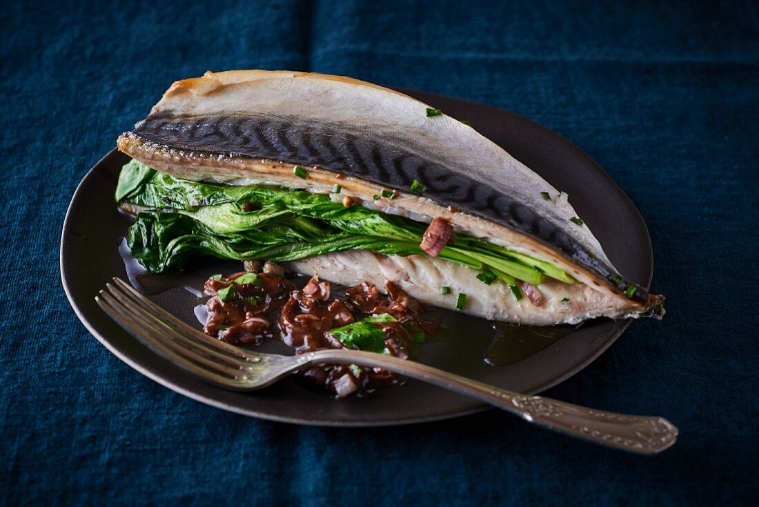 Mackerel with bok choy