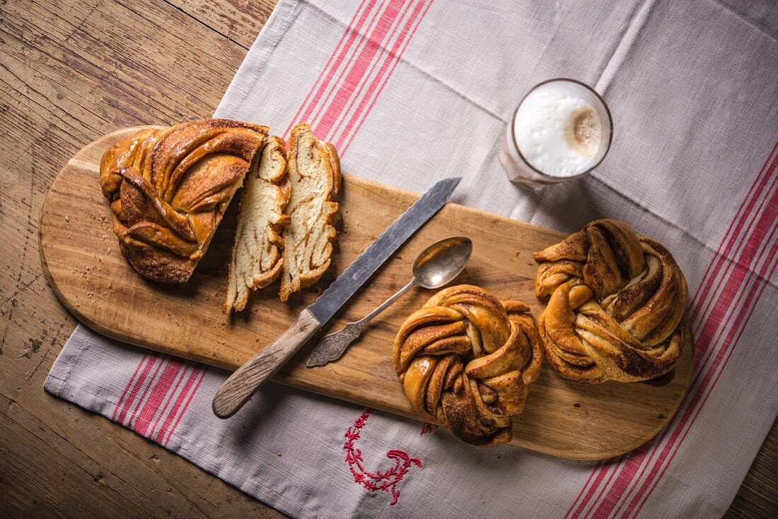 Cinnamon buns and a cafe au lait