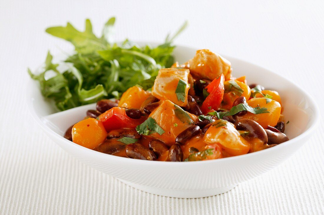 Carrot and bean medley with rocket